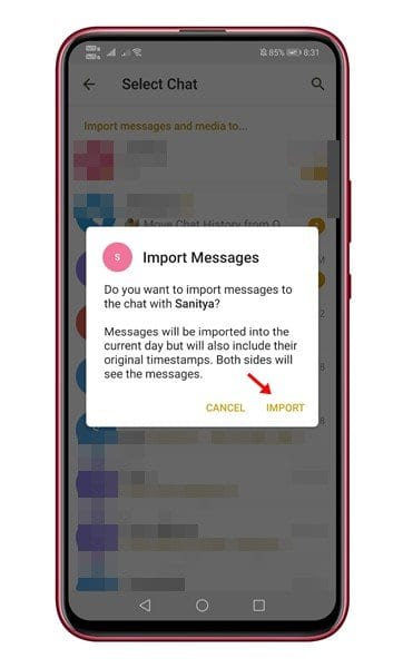 Tap on the 'Import' button