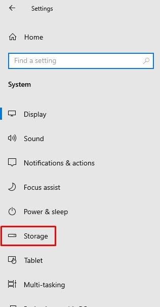 Click on 'Storage' option