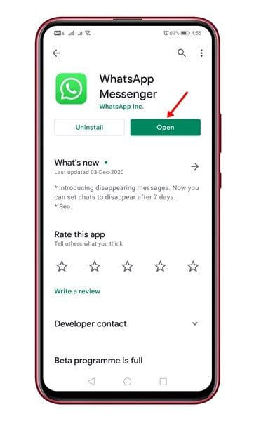 update the WhatsApp app