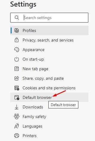 select the 'Default browser' option