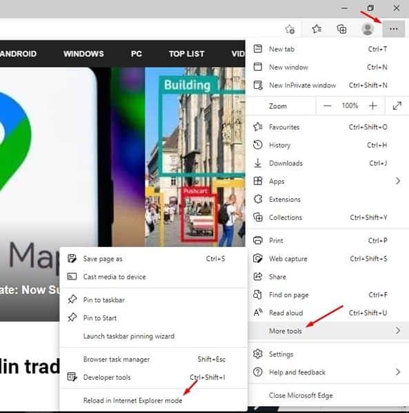 click on the 'Reload in Internet Explorer Mode' option