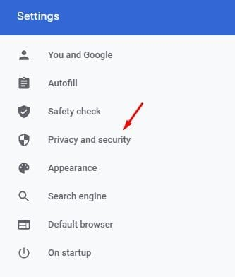 Click on the 'Privacy and Security' option