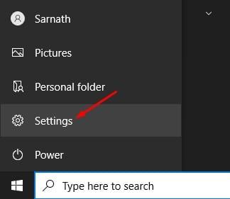 select 'Settings'