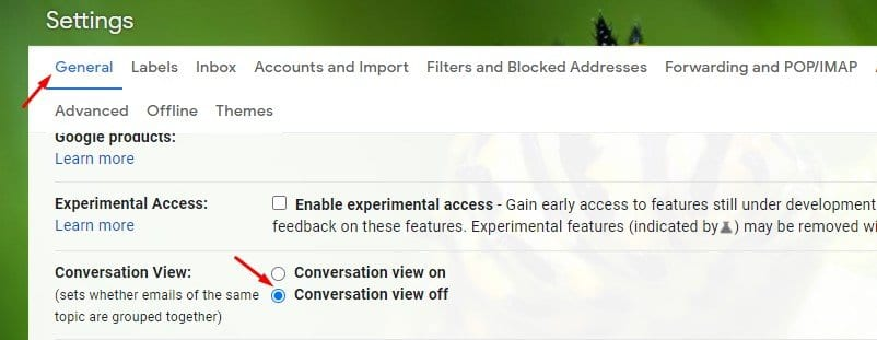 enable the option 'Conversation view off.'