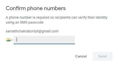 enter the recipient's phone number
