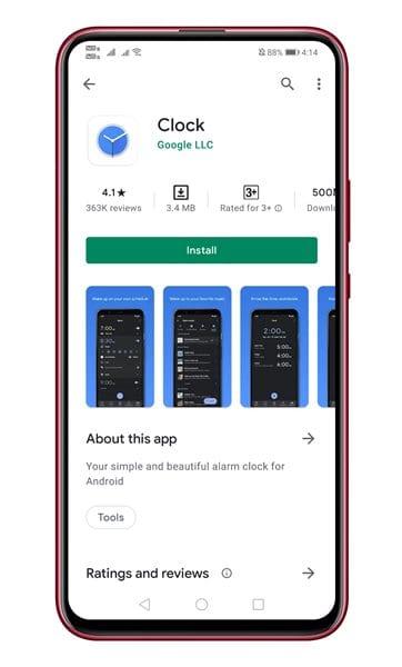 install the Google Clock app