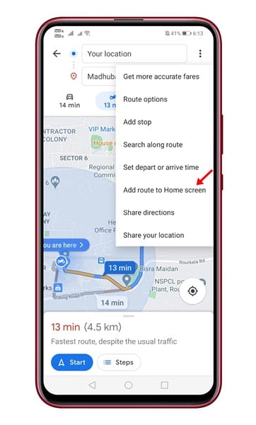Choose 'Add Route on Home Screen'