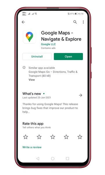 Nstall the latest version of Google Maps