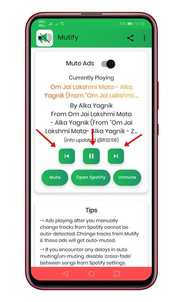 change the music from within the Mutify app