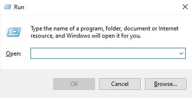 open the RUN dialog box