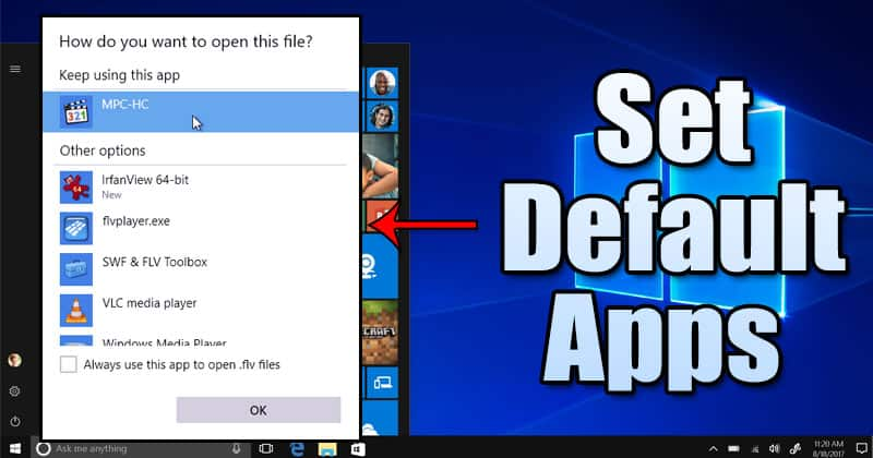 How to Change Default Apps in Windows 10 Computer