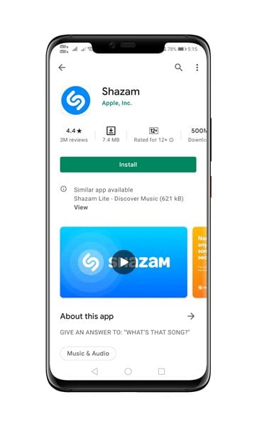download & install the Shazam app