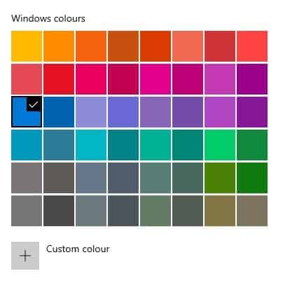Choose the Windows color of your choice