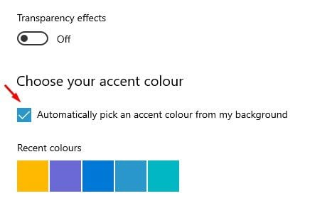 Enable the option 'Choose an accent color from my background'.