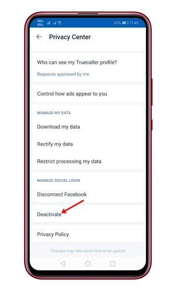 tap on the 'Deactivate' option