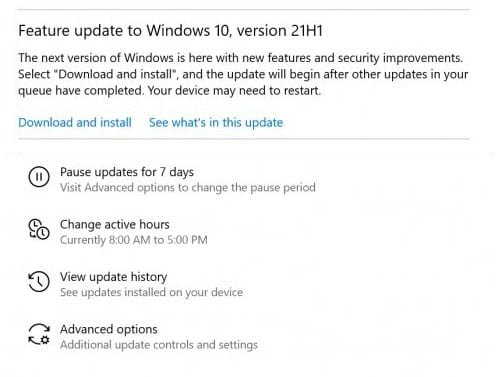 click on the 'Download and install' option