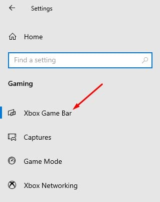 click on the 'Xbox Game Bar' tab