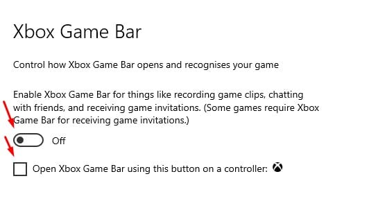 Use the toggle button for Xbox Game bar