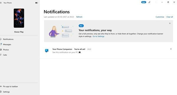 Now you can manage your SMS, notification, photos