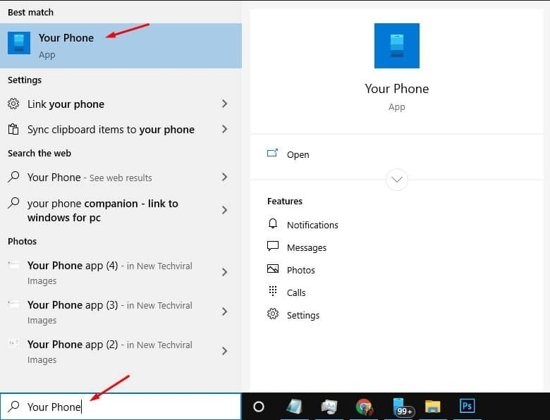Click on windows search and find 'your phone'