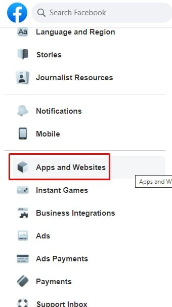 click on the 'Apps and websites' section