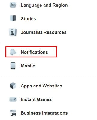 click on the 'Notifications.'