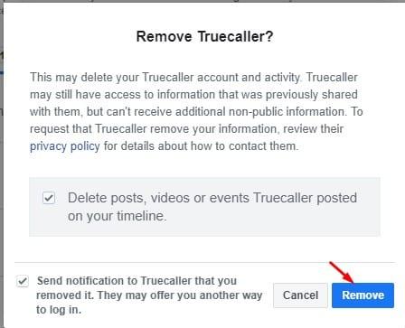 click on the 'Remove' button again