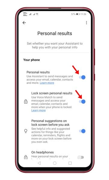 enable the option 'Personal Results' and 'Lock Screen Personal Results'
