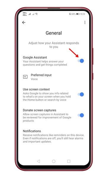 use the toggle button behind the Google Assistant