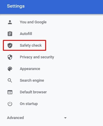 click on the option 'Safety Check.'