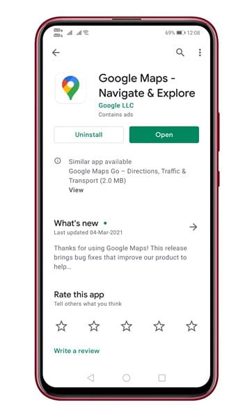 update the Google Maps app