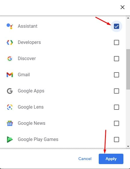 select 'Assistant' and click on the 'Apply' button