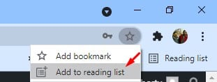 select the 'Add to reading list' option