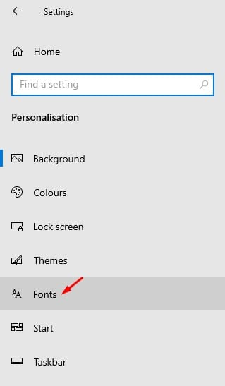 click on the 'Fonts' option