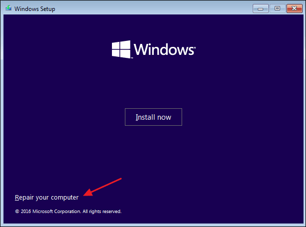 click on the Repair your computer option