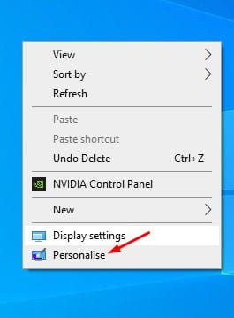 select 'Personalise.'