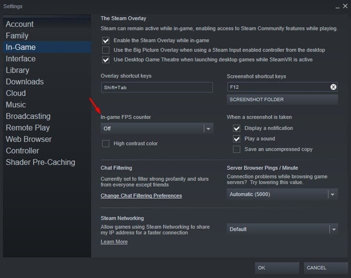find the option 'In-game FPS Counter'
