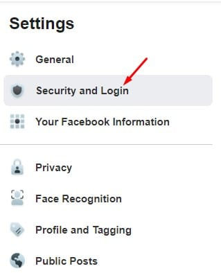click on the 'Security and Login' option
