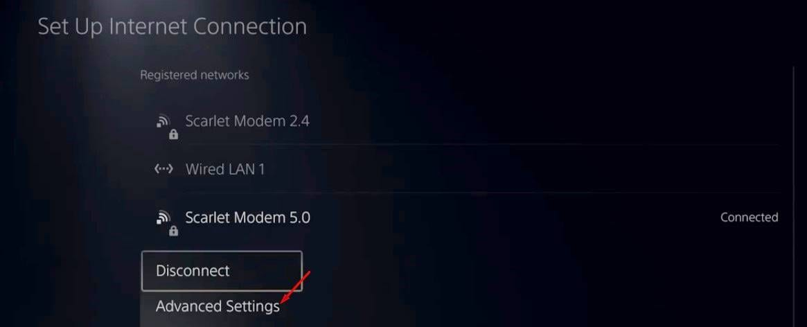 choose the 'Advanced Settings' option