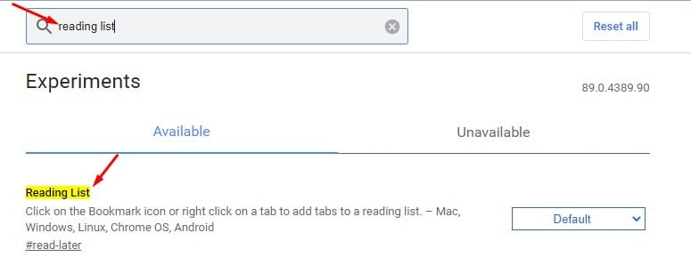 search for 'Reading List.'