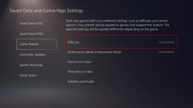 Set the Default Game Difficulty