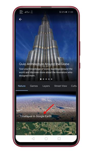 tap on the 'Timelapse in Google Earth' option