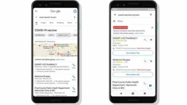 Google now showing COVID-19 vaccination locations