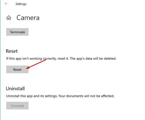 Reset Aplikasi Kamera di Windows