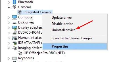 Instal ulang perangkat Kamera di Windows