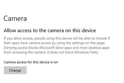 Izinkan Akses ke Kamera Windows 10