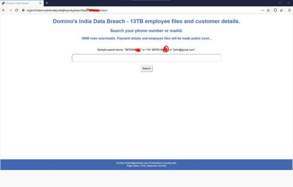 Domino's India Data Breach: 18 Crore Orders Available on Dark Web including Phone Numbers