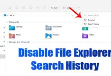 How to Disable File Explorer Search History in Windows 11