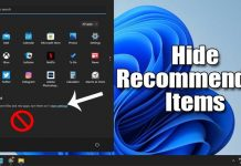 How to Hide Recommended List on Windows 11 Start Menu