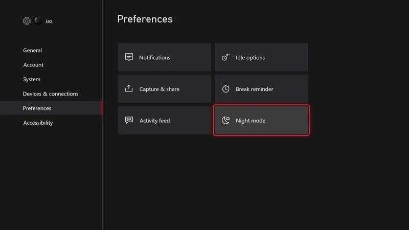 Xbox Night Mode Offers a lot of Customization Options